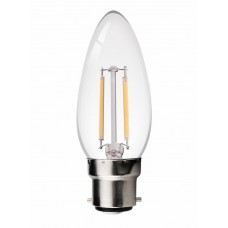 2W LED Filament bulb B22 Candle Retro Style Classic Glass Warm White 2700K (non-dimmable)