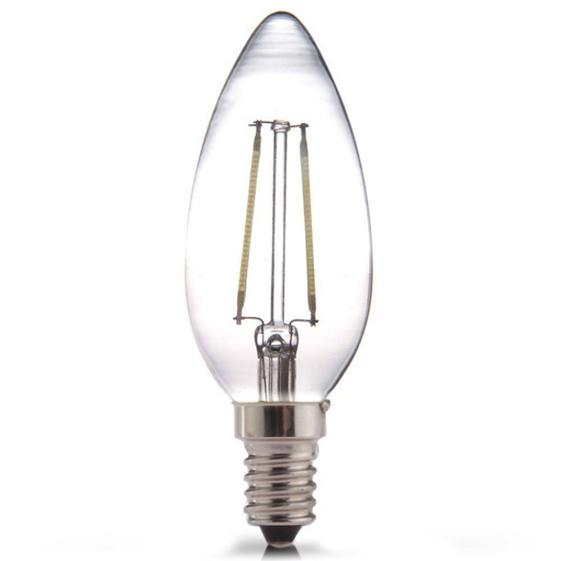 6W LED Filament bulb E14 Retro Candle Style Classic Glass Warm White 2700K (non-dimmable)
