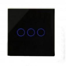 Glass Digital Switch 3gang / 1way in Black