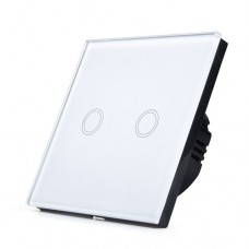 Glass Digital Dimmer Switch 2gang / 1way in White