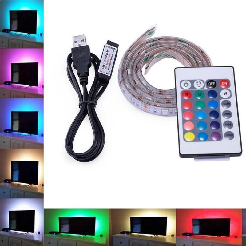 USB 5V RGB MULTICOLOUR LED STRIP LIGHT WITH REMOTE CONTROL 50CM LONG